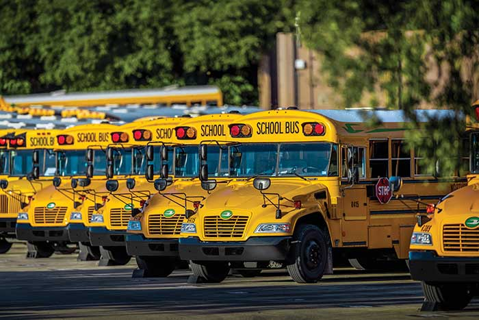 Blue Bird school bus on clean fuel