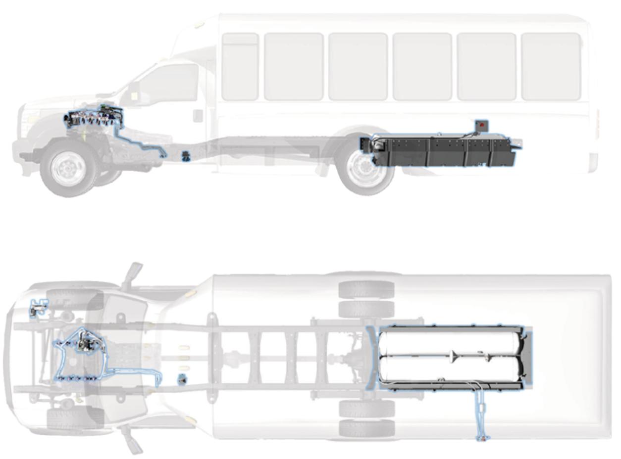 Ford F-450 F-550 Cutaway Aft Axle Fuel Tank
