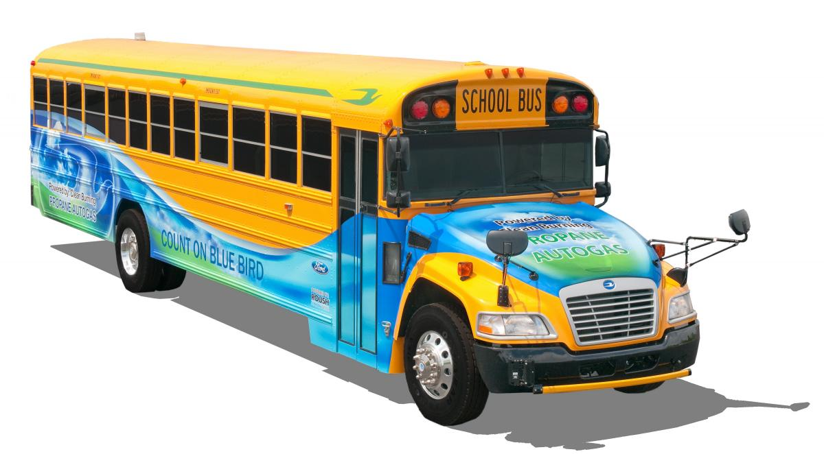 blue bird ford and roush cleantech unveil next generation propane